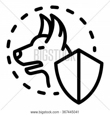 Canine Dog Protect Icon. Outline Canine Dog Protect Vector Icon For Web Design Isolated On White Bac
