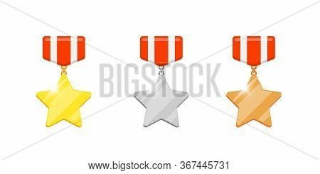 Gold Silver Bronze Medal Star Reward Set For Video Game Or Apps Animation. First Second Third Place