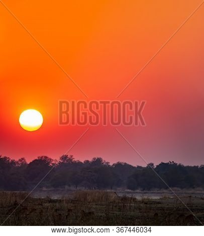 Spectacular Sunset With Huge Sun And Orange Sky