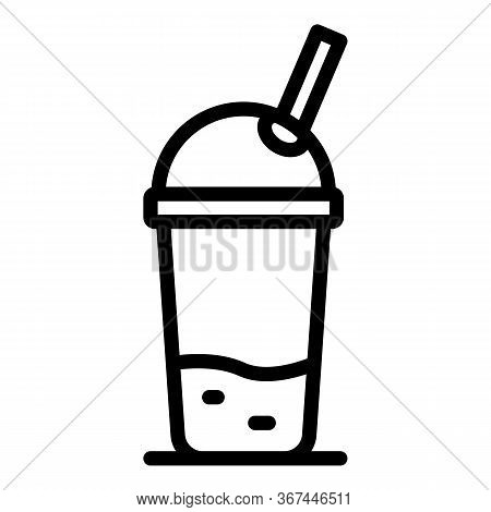 Smoothie Cup Icon. Outline Smoothie Cup Vector Icon For Web Design Isolated On White Background