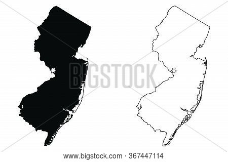 New Jersey Nj State Map Usa With Capital City Star At Trenton. Black Silhouette And Outline Isolated