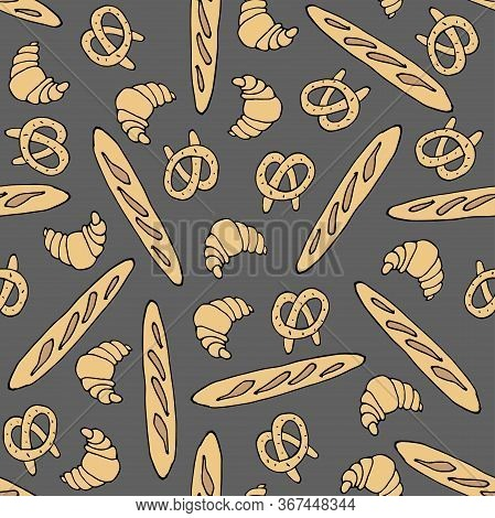 Seamless Pattern With Breakfast Pastries. Croissants, Pretzel, Bread Baguette On A Dark Background.