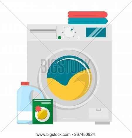 Washing Machine, Detergent And Pile Of Clothes