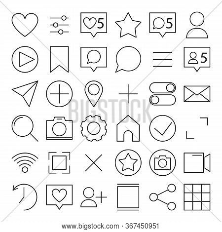 Collection Of Mobile Communication Icons. Line Art