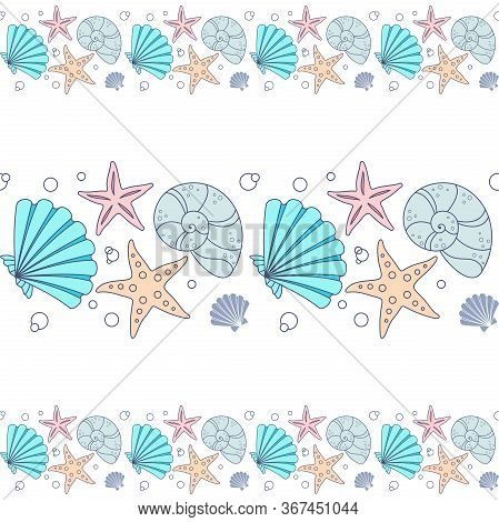 Seamless Horizontal Border With Colorful Seashells And Starfish On A White Background. Vector Design