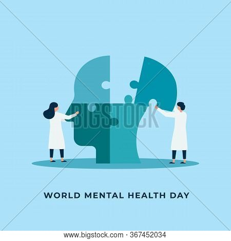 Mental Health Treatment Vector Illustration. Psychology Specialist Doctor Work Together To Fix Conne