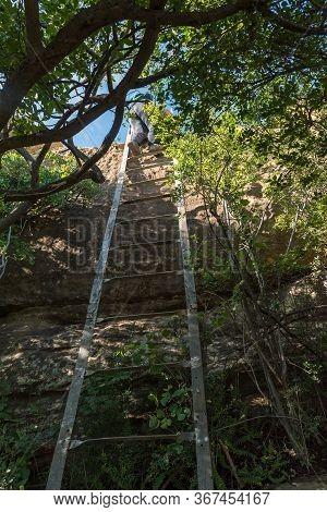 A Hiker Descending A Ladder On The Eland Hiking Trail At Eingedi Near Ladybrand