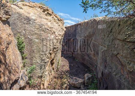 The Eland Hiking Trail Passing Through A Rock Formation, Called Drukgang, At Eingedi Near Ladybrand