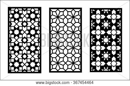 Cnc Laser Pattern. Set Of Decorative Vector Panel Templates For Laser Cutting. Cnc Template For Inte