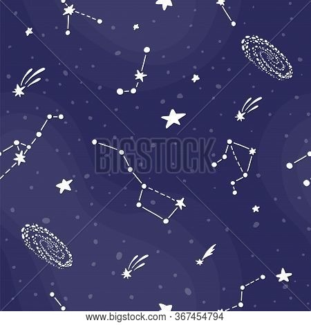 Cosmic Fabric For Kids. Bright Childish Tile. Cute Design For Kids Fabric And Wrapping Paper. Conste