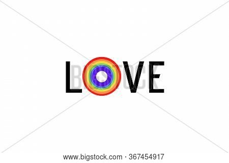 Love Illustration With Colorful Rainbow Flag Or Pride Flag / Banner & White Background Of Lgbtq (les