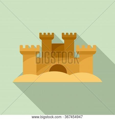 Sand Sculpture Castle Icon. Flat Illustration Of Sand Sculpture Castle Vector Icon For Web Design