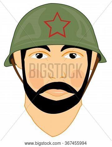 Soviet Soldier In Helmet On White Background Is Insulated