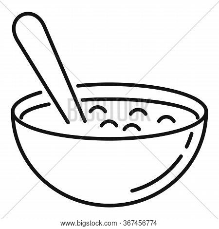 Bowl Oats Grains Icon. Outline Bowl Oats Grains Vector Icon For Web Design Isolated On White Backgro