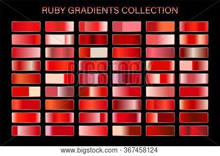 Red Ruby Glossy Gradient, Metal Foil Texture. Color Swatch Set. Collection Of High Quality Vector Gr