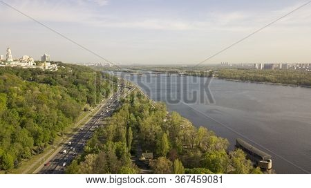 Ukraine Kiev April 2020 View Of The City Of Kiev And The Dnieper With The Religious Complex Lavra
