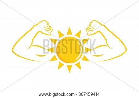 Strong Sun With Muscular Arms Vector Illustration Eps10