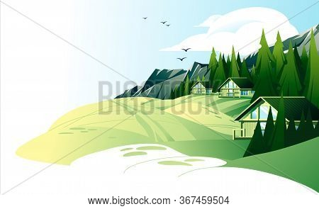 Summer Mountain Rest Landscape With Rest Houses