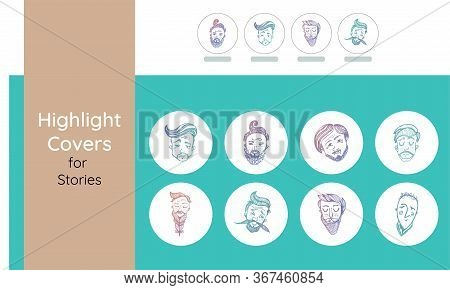 Highlights Stories Covers Icons Men. Perfect For Bloggers. Set Of 8 Highlights Colorful Covers On Wh