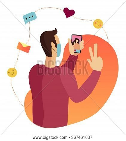 Online Chat. Distance Love Because Of Quarantine. Online Chat With Lover And Valentine. Boy Chat Wit