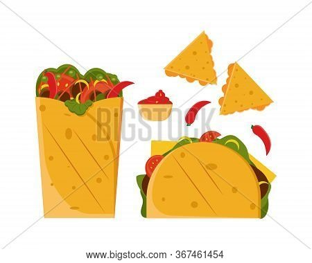 Mexican Food Set. Colored Set With Burrito, Nachos, Taco, Chilli And Sauce. Vector Illustration In F