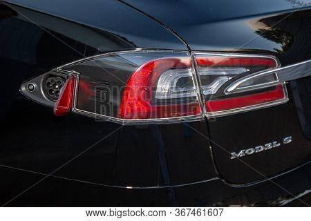 Bordeaux , Aquitaine / France - 03 30 2020 : Tesla Car Model S Charge Electric Vehicle Ve Supercharg