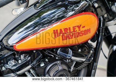 Bordeaux , Aquitaine / France - 10 10 2019 : Harley-davidson Logo Sign Orange Black Detail On Motorc