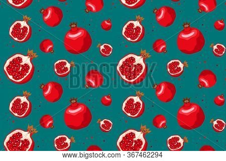Vector Seamless Pattern With Pomegranates. Decorative Patterns Of The Pomegranate Fruit On White Bac