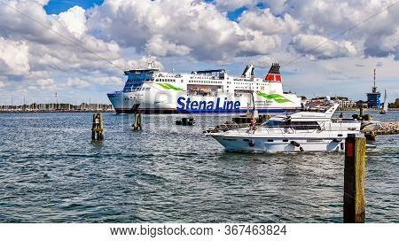 Warnemunde, Germany - July 14, 2017: The Ferry Skane Of The Shipping Company Stena Line Leaves The P