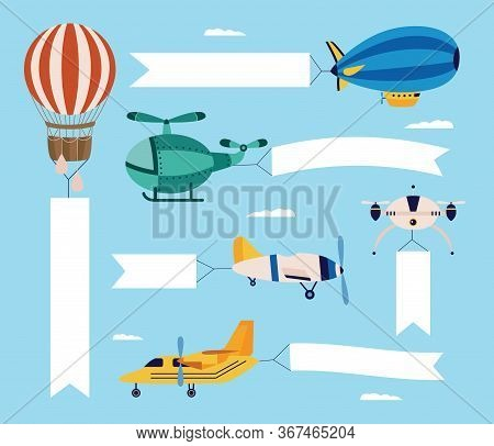 Airplane And Plane, A Helicopter And A Quadcopter, Airship And Balloon Fly With Empty Banner.