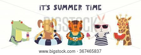 Hand Drawn Card, Banner With Cute Animals, Text Its Summer Time. Vector Illustration. Isolated On Wh