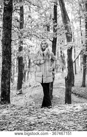 Girl Fashionable Blonde Walk In Autumn Forest. Woman Wear Warm Pink Jacket. Jackets Everyone Should