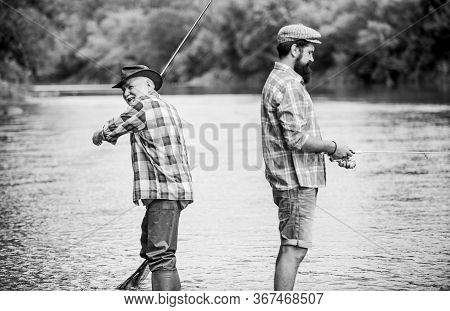 Summer Weekend. Peaceful Activity. Nice Catch. Rod And Tackle. Fisherman Family. Hobby Sport Activit