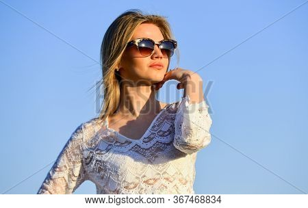 Female Health. Emotional Girl. Happy. Carefree Girl. Pretty Woman Fashionable Sunglasses Outdoors. G