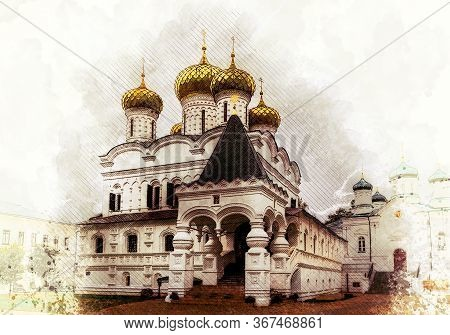 Watercolor Styling - Holy Trinity Cathedral In Ipatiev Monastery, Kostroma, Golden Ring, Russia