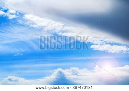 Dramatic blue sky background. Vast sky landscape panoramic scene - colorful sky view in bright tones. Sky scene, blue sky background. Sky nature view, vast sky nature scene. Sky background