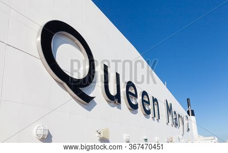 North Atlantic Ocean - October 19:  The Name Queen Mary 2 Adorns Cunard Cruise Liner As It Sails Acr