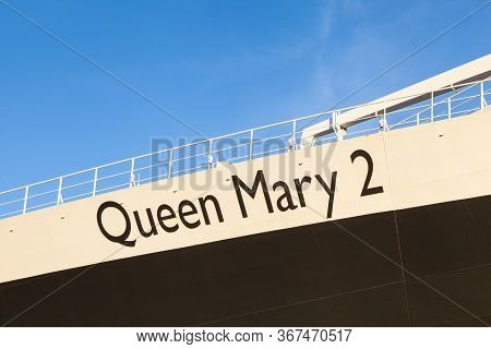 New York City - October 20:  The Name Queen Mary 2 Adorns The Cunard Cruise Liner Whilst It Was Dock