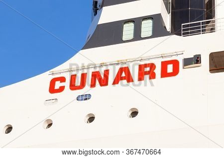 New York City - October 20:  The Cunard Name Adorns The Cruise Liner Queen Mary 2 Whilst It Was Dock