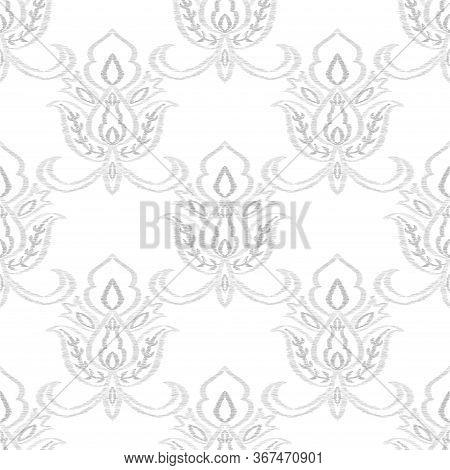 Indigo Rug Decorative Vector Seamless Pattern. India Flower Background. Oriental Illustration. Blue