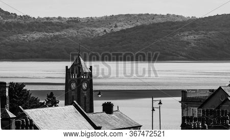 Black And White Skyline Of Grange Over Sands In The Uk\'s Lake District