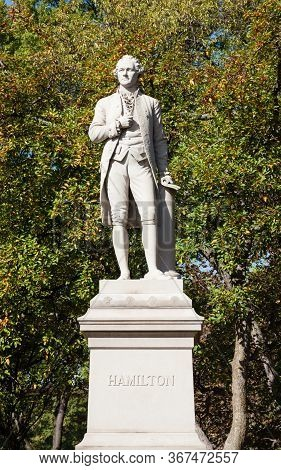 New York - October 22: A View Of The Alexander Hamilton Monument In Central Park, New York City On O