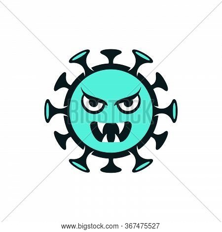 Angry Coronavirus Monster Emoticon. Turquoise Scary Covid-19 Isolated Vector Icon.