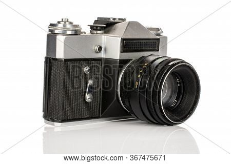 One Whole Old Vintage Camera Isolated On White Background