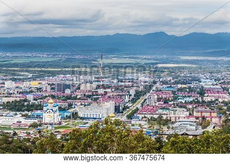View From Mount Bolshevik To Victory Avenue, Yuzhno-sakhalinsk City And Surroundings, Russia