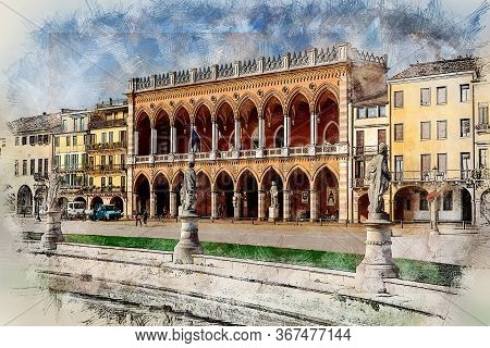 Lodge Amulea And And Sculptures At Prato Della Valle. Padua, Province Of Padua/ Italy. Color Pencil