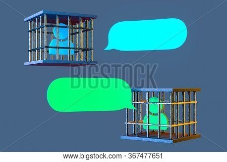 Bubble Speech From User Pictures Imprisoned In Transparent Cages. Communication Behind Bars. Feeling