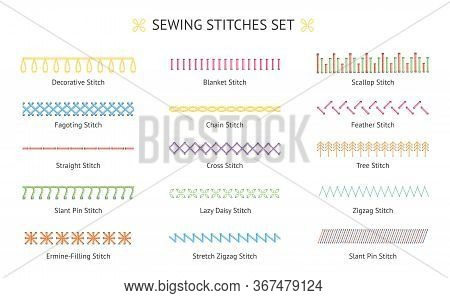 Sewing Stitch Line Set - Colorful Embroidery Needlework Types With Names