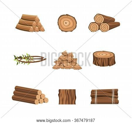 Wood Icons For Forestry And Lumber Industry Flat Vector Illustrations Isolated.