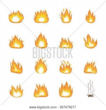 Set Of Fire, Blaze, Flame And Campfire Icons.